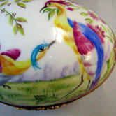 Sevres birds and flowers on puce